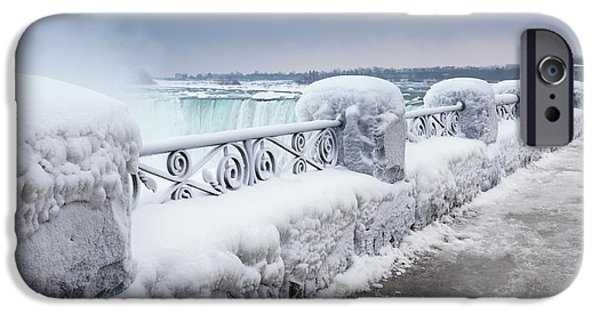 Fall iPhone Cases - Niagara Falls Wintertime Scenic iPhone Case by Oleksiy Maksymenko