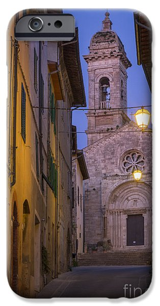 Tuscan Road iPhone Cases - Night Church iPhone Case by Brian Jannsen