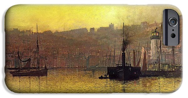 Boats In Water iPhone Cases - Nightfall in Scarborough Harbour iPhone Case by John Atkinson Grimshaw