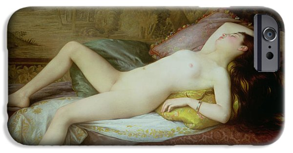 Figures iPhone Cases - Nude lying on a chaise longue iPhone Case by Gustave-Henri-Eugene Delhumeau