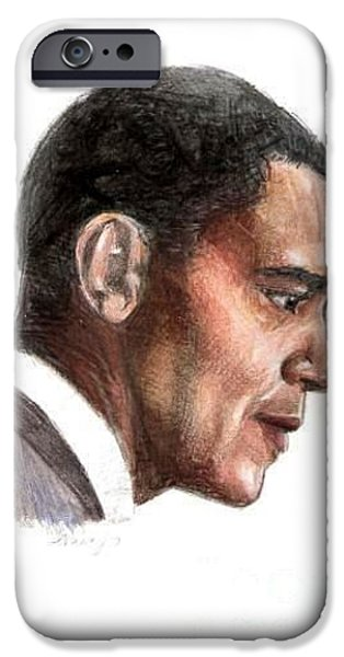 Obama iPhone Cases - Obama iPhone Case by Nancy Anton