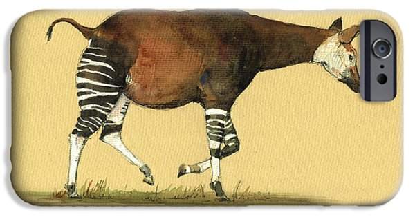 Safari Prints iPhone Cases - Okapi art watercolor painting iPhone Case by Juan  Bosco