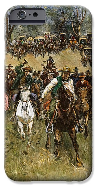 Best Sellers -  - Destiny iPhone Cases - Oklahoma Land Rush, 1891 iPhone Case by Granger