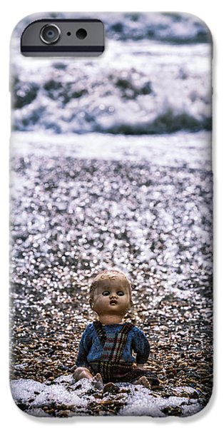Creepy iPhone Cases - Old Doll On The Beach iPhone Case by Joana Kruse