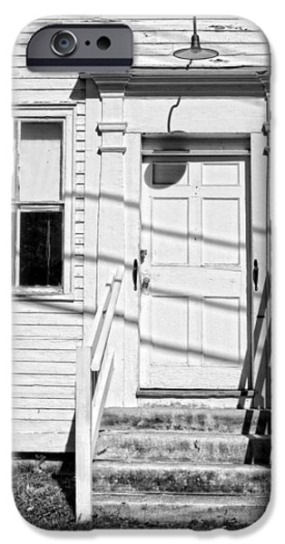Old Maine Houses iPhone Cases - Old Door And Steps Black and White Photo iPhone Case by Keith Webber Jr