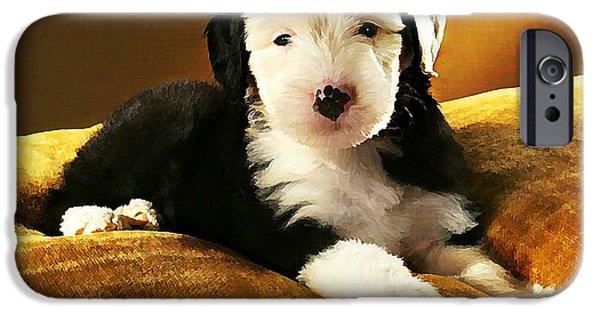 Puppy Digital iPhone Cases - Old English Sheepdog Puppy iPhone Case by Linda Zielinski