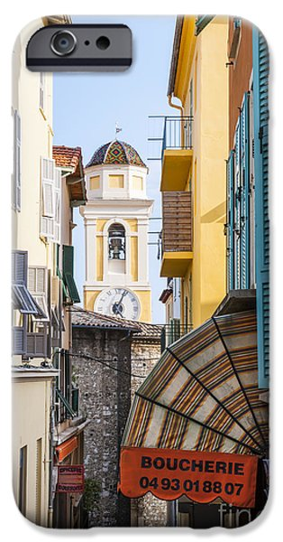 Village iPhone Cases - Old town in Villefranche-sur-Mer iPhone Case by Elena Elisseeva
