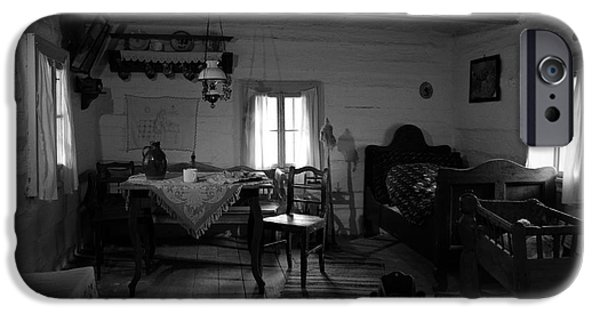 Furniture iPhone Cases - Old Traditional 16th Century Home Interior BW iPhone Case by Alexandra K