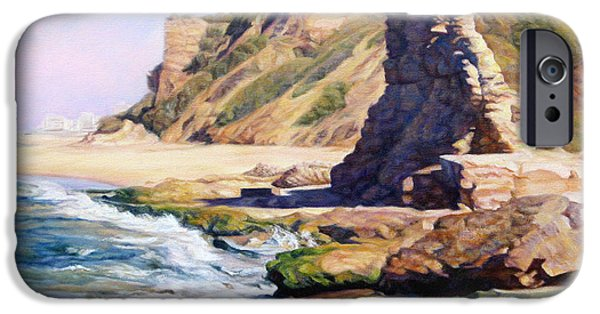 Remnants Paintings iPhone Cases - On the seashore iPhone Case by Maya Bukhina
