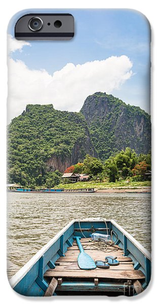 Canoe iPhone Cases - On the way to Pak Ou cave iPhone Case by Didier Marti