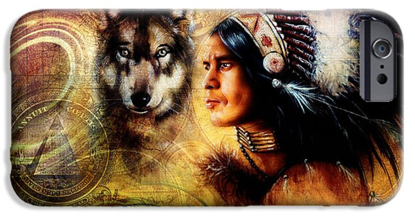 Native American Spirit Portrait iPhone Cases - One Dollar Collage With Indian Man Warrior With Wolf Ornament Background iPhone Case by Jozef Klopacka