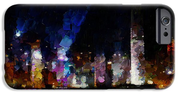 Hong Kong Paintings iPhone Cases - One night in Hong Kong. iPhone Case by Sir Josef  Putsche Social Critic