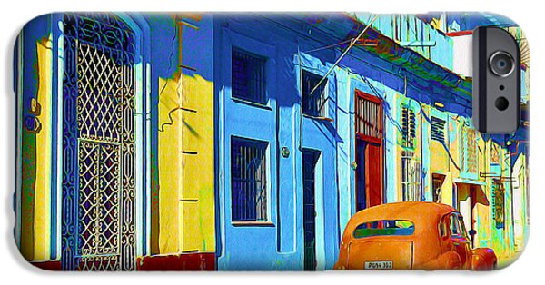 Buildings Mixed Media iPhone Cases - Orange Classic Car - Havana Cuba iPhone Case by Chris Andruskiewicz