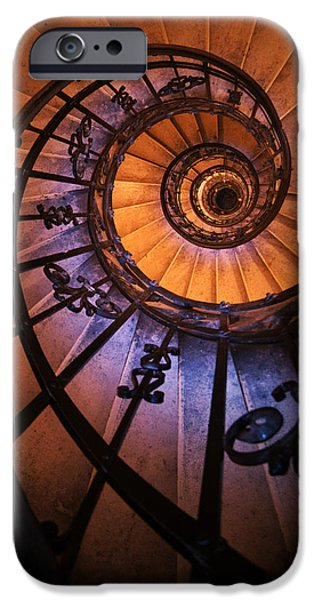 Business Photographs iPhone Cases - Ornamented spiral staircase iPhone Case by Jaroslaw Blaminsky