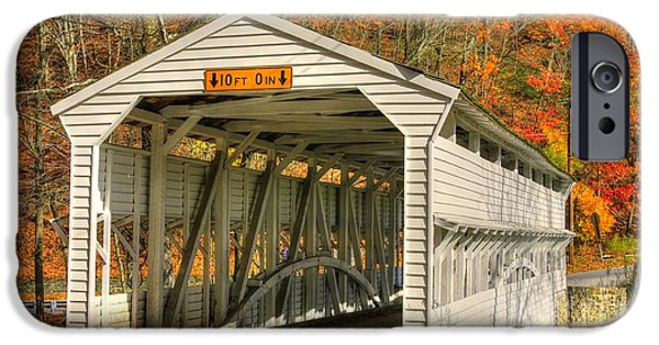 Covered Bridge iPhone Cases - PA Country Roads - Knox Covered Bridge Over Valley Creek No. 2A - Valley Forge Park Chester County iPhone Case by Michael Mazaika