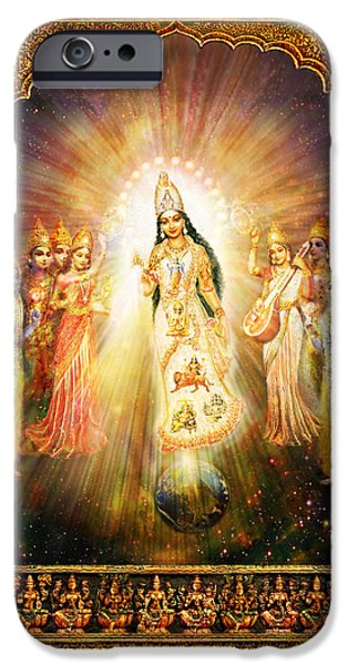 Recently Sold -  - Hindu Goddess iPhone Cases - Parashakti Devi - the Great Goddess in Space iPhone Case by Ananda Vdovic