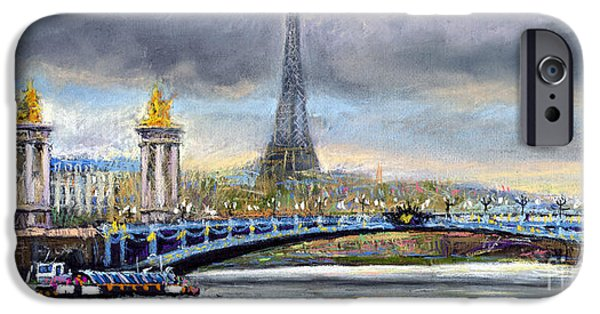 Cities Pastels iPhone Cases - Paris Pont Alexandre III iPhone Case by Yuriy  Shevchuk