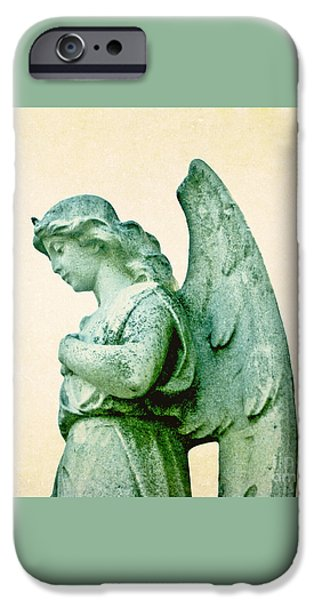 Cemetary iPhone Cases - Patina Angel iPhone Case by Valerie Fuqua