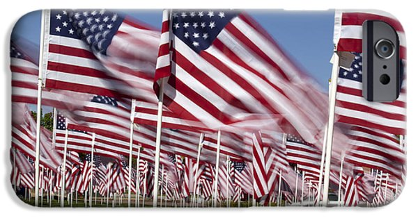 American Flag iPhone Cases - Patriotic American Flag Display iPhone Case by Anthony Totah