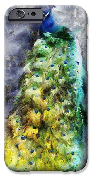 Peafowl iPhone Cases - Peacock Portrait iPhone Case by Jai Johnson