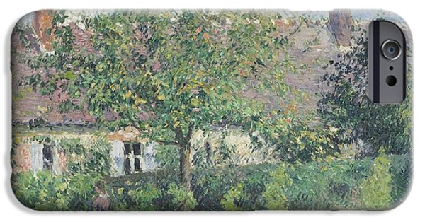 Pissarro iPhone Cases - Peasant House at Eragny iPhone Case by Celestial Images