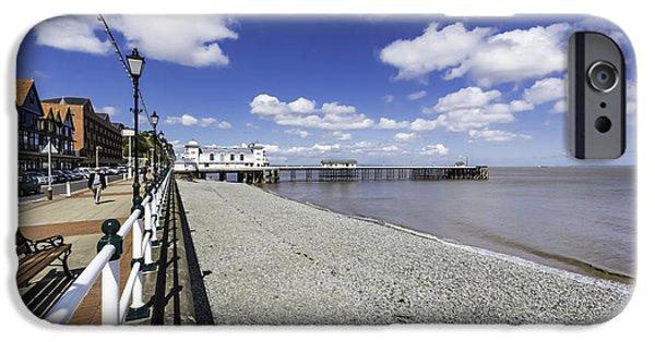 Beach Landscape iPhone Cases - Penarth Pier 4 iPhone Case by Steve Purnell