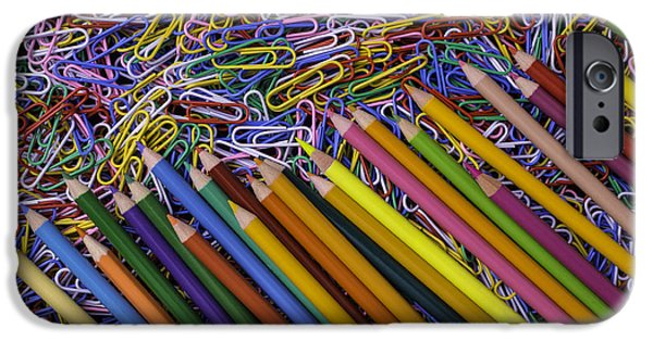 Colored Pencils iPhone Cases - Pencils and Paperclips iPhone Case by Garry Gay