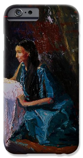 Young Paintings iPhone Cases - Penelope iPhone Case by Irena  Jablonski