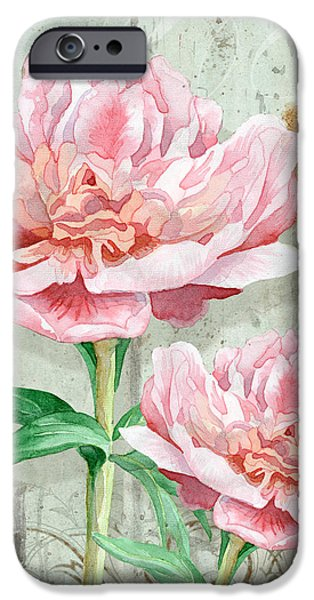 Barns Mixed Media iPhone Cases - Peony at the Fence iPhone Case by Audrey Jeanne Roberts