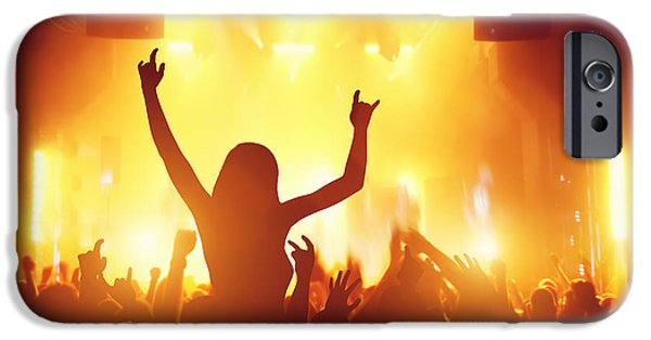 Applaud iPhone Cases - People having fun in night club iPhone Case by Michal Bednarek