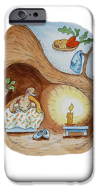 Rabbit iPhone Cases - Peter Rabbit and His Dream iPhone Case by Irina Sztukowski