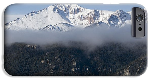 Fog Mist iPhone Cases - Pikes Peak as Storm Clouds and Fog Roll In  iPhone Case by Steve Krull