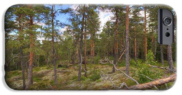 Pines iPhone Cases - Pinewood iPhone Case by Veikko Suikkanen