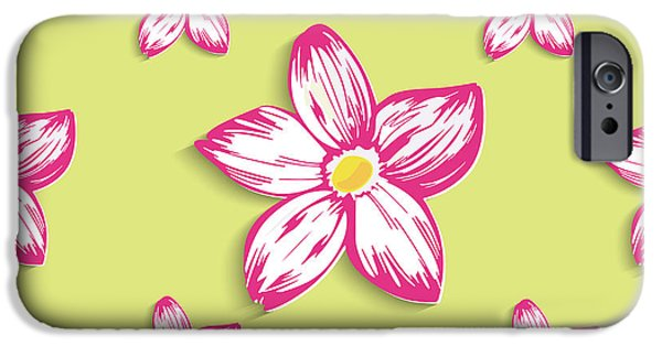 Seamless Tapestries - Textiles iPhone Cases - Pink cherry blossoms  iPhone Case by Elena Samoilova