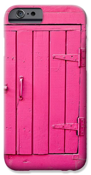 Shed iPhone Cases - Pink door iPhone Case by Tom Gowanlock