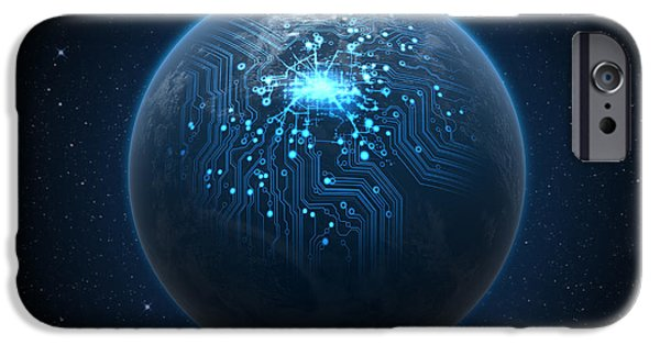 Chip iPhone Cases - Planet With Illuminated Network iPhone Case by Allan Swart