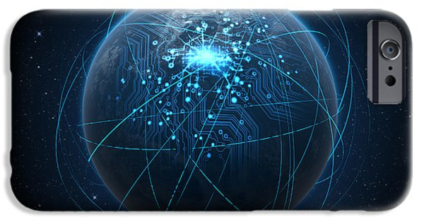 Chip iPhone Cases - Planet With Illuminated Network And Light Trails iPhone Case by Allan Swart