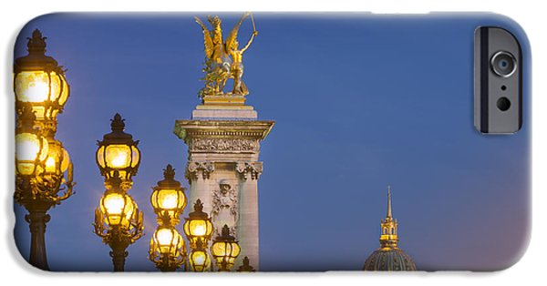 Night Lamp iPhone Cases - Pont Alexandre III Twilight iPhone Case by Brian Jannsen