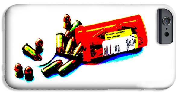 Death Proof iPhone Cases - Pop Art of .45 cal bullets comming out of pill bottle iPhone Case by Michael Ledray