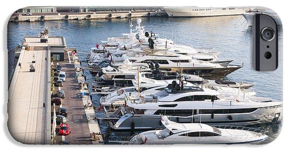 Boat Cruise iPhone Cases - Port Hercule in Monaco iPhone Case by Elena Elisseeva