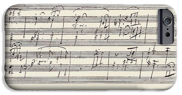 Sheets Drawings iPhone Cases - Portion Of The Ms. Of Ludwig Van iPhone Case by Ken Welsh