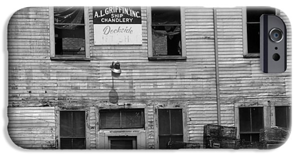 Old Maine Houses iPhone Cases - Portland Maine - Dockside Fishing Shack iPhone Case by Frank Romeo