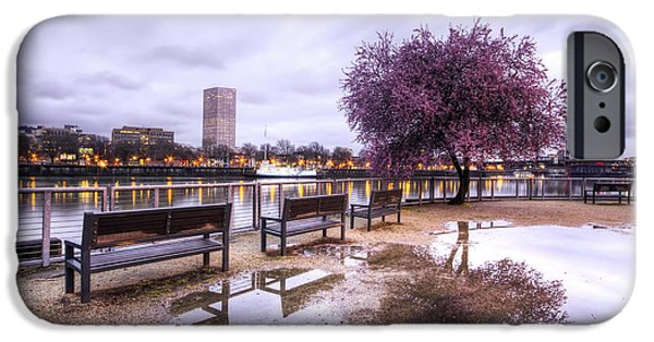 Waterfront Photographs iPhone Cases - Portland Oregon Waterfront Tree Reflection iPhone Case by Dustin K Ryan