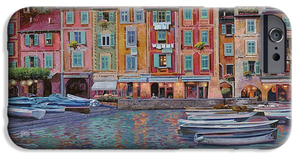 Reflection Paintings iPhone Cases - Portofino al crepuscolo iPhone Case by Guido Borelli