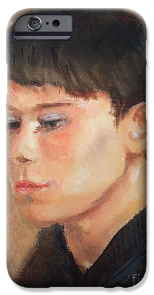 Young Paintings iPhone Cases - Portrait In Oil iPhone Case by Nancy Anton
