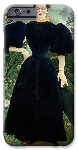 Pathway iPhone Cases - Portrait of a Woman iPhone Case by Henri Rousseau