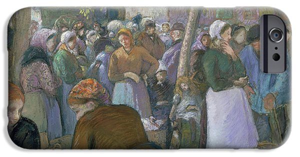 19th Century Pastels iPhone Cases - Poultry Market at Gisors  iPhone Case by Camille Pissarro