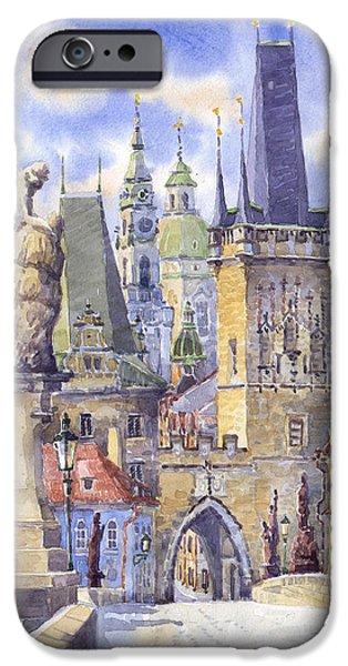 Prague iPhone Cases - Prague Charles Bridge iPhone Case by Yuriy  Shevchuk