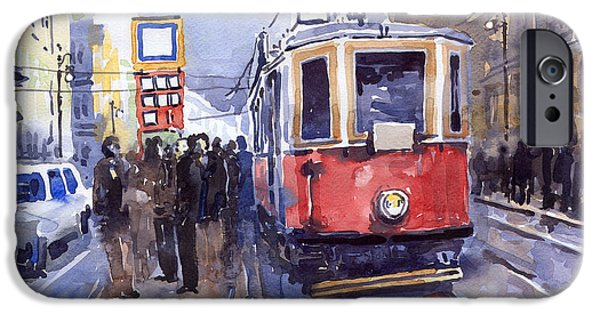 Streetscape Paintings iPhone Cases - Prague Old Tram 03 iPhone Case by Yuriy  Shevchuk