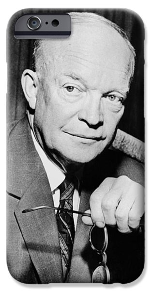 President iPhone Cases - President Dwight Eisenhower  iPhone Case by War Is Hell Store